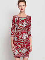 Women's Going out Sophisticated Sheath Dress,Embroidered Round Neck Above Knee ¾ Sleeve Blue Red Others Summer Mid Rise Inelastic Medium