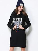 Courte Robe Femme Sortie / Décontracté / Quotidien / Grandes Tailles simple / Mignon / Chic de Rue,Couleur Pleine / Géométrique / Jacquard