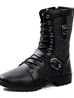 Men's Boots Fall Winter Other PU Outdoor Casual Flat Heel Applique Lace-up Studded Black Walking Other