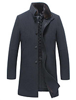 Men's Casual/Daily Simple Coat,Solid Long Sleeve Fall / Winter Gray Wool Medium