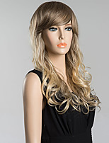 Long Inclined Bang Fluffy Wavy Human Hair Wig