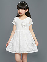 Girl's Going out Solid Dress,Cotton / Others Summer Orange / White