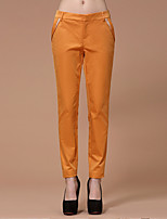I'HAPPY Women's Solid Beige / Yellow Slim PantsSimple Spring / Fall
