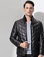 Мужчины На каждый день Однотонный Кожаные куртки Воротник-стойка,Простое Зима Черный Длинный рукав,Кожа особого типа,Толстая