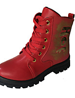 Girl's Boots Fall / Winter Comfort PU Casual Flat Heel  Black / Red / Gray Walking