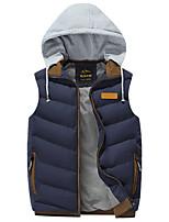Пальто Простое Обычная На подкладке Мужчины,Однотонный На каждый день / Нарядная / Большие размеры Хлопок / Акрил / Полиэстер Полиэстер,