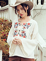 Aporia.As Women's Casual/Daily Street chic Fall BlouseEmbroidered V Neck Long Sleeve Beige Polyester-MZ08052
