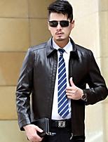 Мужчины На каждый день Однотонный Кожаные куртки Рубашечный воротник,Уличный стиль Осень Черный / Коричневый Длинный рукав,Кожа,Средняя