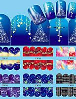 12pcs Nail Art Christmas Water Transfer Tips Snowflake Blue Full Wraps Patterns Temporary Sticker Nails