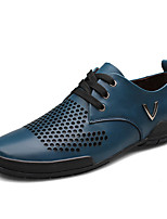 Men's Oxfords Spring / Fall Comfort Leather Casual Flat Heel Lace-up Blue / Brown Others