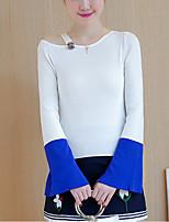 Normal Pullover Femme Décontracté / Quotidien Mignon,Couleur Pleine Rouge / Blanc Asymétrique Manches Longues Polyester Automne / Hiver