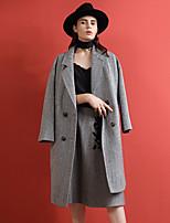 Women's Going out Simple Coat,Striped Notch Lapel Long Sleeve Winter Black Acrylic / Polyester / Nylon Medium