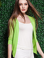 Women's Casual/Daily Simple Regular CardiganSolid Blue / Pink / White / Green / Yellow V Neck Long Sleeve Linen Summer / Fall Thin Hot Sale