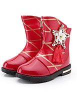 Girl's Boots Fall / Winter Fashion Boots /  PU Dress / Casual Flat Heel Crystal / Zipper Black / Pink / Red Walking