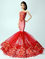Princess Dresses For Barbie Doll Red Lace Dresses For Girl's Doll Toy