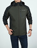 Hiking Softshell Jacket Men's Waterproof / Breathable  / Warm / Windproof / Wearable Fall/ Winter Green / Gray