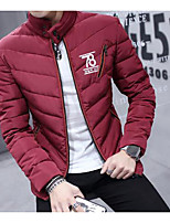 Men's Regular Padded Coat,Simple Casual/Daily Solid-Polyester Cotton Long Sleeve Red / White