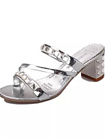 Women's Slippers & Flip-Flops Summer Comfort PU Dress Chunky Heel Crystal / Crystal Heel Silver / Gold Others