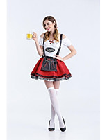 Female Oktoberfest Costume Beer Festival Uniforms Red Beer Girl Cosplay Sexy Women French Maid Costumes for  Halloween