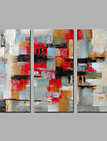 Red 3 Panels Paintings Handmade Design Art Decor Stretchered Ready to Hang
