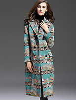 1898 Women's Casual/Daily Chinoiserie CoatAnimal Print Notch Lapel Long Sleeve Fall / Winter Blue Polyester Medium