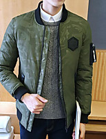 Men's Down Coat,Simple Plus Size / Casual/Daily Solid-Polyester White Duck Down Long Sleeve Black / Green