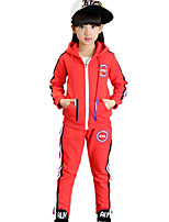 Girl's Casual/Daily / Sports Color Block / Patchwork Clothing Sets Winter Long Sleeve Thickness with Hat Coat & Casual Pants