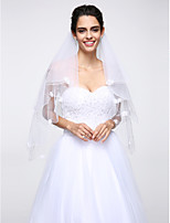 Wedding Veil Two-tier Fingertip Veils Pearl Trim Edge Net White