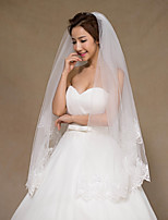 Wedding Veil Two-tier Fingertip Veils Ribbon Edge Tulle