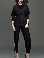 Chemise Femme,Couleur Pleine Décontracté / Quotidien simple Automne / Hiver Manches Longues Col Roulé Noir Coton Moyen