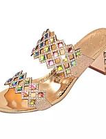 Damen-Sandalen-Lässig-Glanz PU-Blockabsatz-Fersenriemen-Silber Golden
