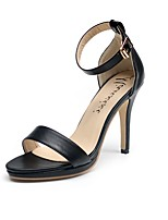 Women's Sandals Summer Slingback PU Casual Stiletto Heel Black / White