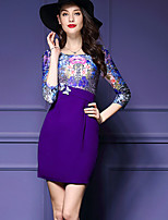 Women's Plus Size Street chic Bodycon DressColor Block Round Neck Above Knee  Sleeve Purple
