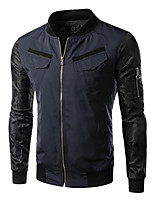 Men's Casual/Daily Simple JacketsColor Block Stand Long Sleeve Fall / Winter Blue / Black Cotton / Polyester Medium