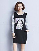 Women's Plus Size / Going out Simple / Cute / Active Shift Dress,Solid / Animal Print / Color Block Round Neck Above Knee Long Sleeve
