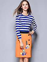 Women's Going out Street chic Skirt Suits,Striped Round Neck Long Sleeve Blue Polyester