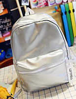 Women PU Casual Backpack Pink / Silver