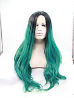 sylvia laço sintético peruca frente raízes negras perucas resistente ondulado longo sintéticos cabelo calor verde