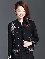 AINIER Women's Casual/Daily Chinoiserie JacketsJacquard Crew Neck Long Sleeve Fall Black Cotton / Polyester