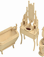 The Bathroom Wooden Simulation/Stereo DIY Assembly Model Education Toys