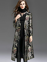 1898 Women's Casual/Daily Vintage Trench CoatJacquard Notch Lapel Long Sleeve Fall / Winter Black Polyester Medium
