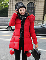 Women's Regular Down Coat  Print-Cotton / Polyester Polyester / Cotton Long Sleeve Round NeckBlue / Pink / Red
