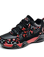 Синий Черный и красный Черный и белый-Женский-Повседневный Для занятий спортом-Кожа-На плоской подошве-Удобная обувь-Кеды