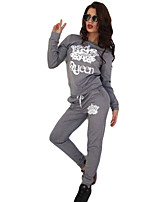 Women's Casual/Daily Active Fall / Winter Set Pant,Letter Round Neck Long Sleeve Black / Gray Cotton Opaque
