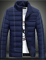 Men's Regular Padded Coat,Simple Casual/Daily Solid-Polyester Cotton Long Sleeve Stand Blue / White / Black / Green