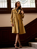 Women's Casual/Daily / Work / Holiday Vintage / Street chic / Sophisticated Trench Coat,Solid Peter Pan Collar Long Sleeve All Seasons