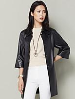 Xuebao Women's Vintage Fur CoatSolid Stand  Sleeve Winter Black Others Medium