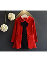 Vestido Chica de-Casual/Diario-Un Color-Algodón-Primavera / Otoño-Negro / Rojo