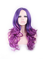 Harajuku Ombre Wig Pelucas Pelo Curly Natural Synthetic Wigs Heat Resistant Purple Perruque Anime Cosplay Wigs Manic Panic