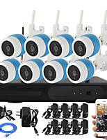 YanSe 8CH Wireless 1.0MP IR Camera NVR Kit WiFi IP Camera Metal IP66 Waterproof Network NVR CCTV System 720P HDMI P2P